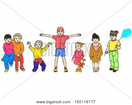 Vector illustration set of colorful children isolated on white background. The concept of 1 September, the protection of children, day knowledge.
