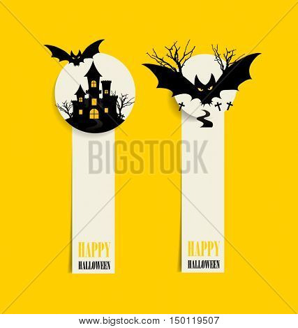 Happy Halloween design background and Cute note paper. Vector illustration.
