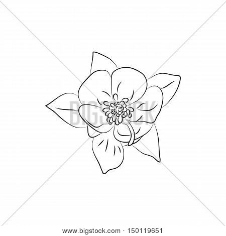 beautiful fuchsia flower lined minimal Icon Created For Mobile Web And Applications. Simple black icon isolated on white background. Vector illustration.