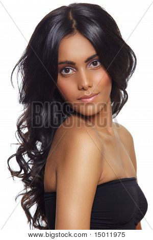 Beautiful Woman With Long Black Curly Hair.