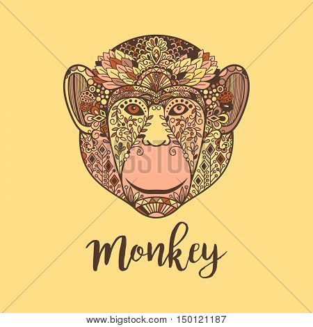Monkey hand drawn head vector illustration with colorful ethnic motifs