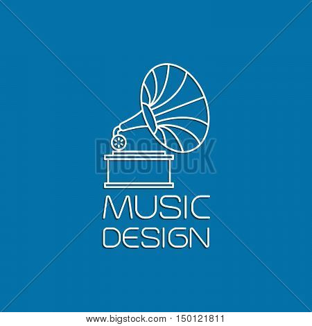 Music design with gramophone thin line vector logo