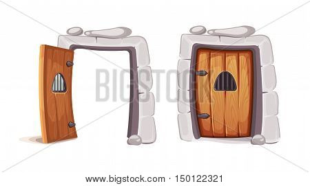 vector Illustration of medieval door from a prison cell. wood material. Picture for 2D game design. Isolate on white background