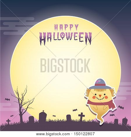 Happy halloween vector illustration. Cute ghost with scarecrow cosplay and cemetery. Halloween cartoon character design for notepad, memo, message board.