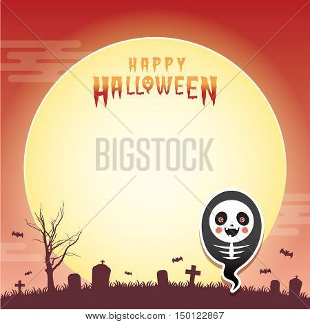 Happy halloween vector illustration. Cute ghost with skeleton cosplay and cemetery. Halloween cartoon character design for notepad, memo, message board.