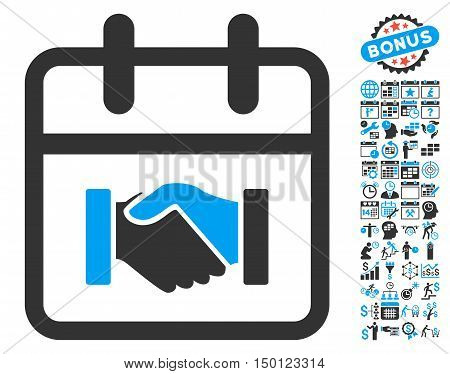 Contract Day pictograph with bonus calendar and time management design elements. Vector illustration style is flat iconic bicolor symbols, blue and gray colors, white background.