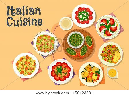 Italian cuisine icon of healthy dinner dishes with caesar salad, salmon pasta salad, basil pesto, tomato mozzarella salad, beef carpaccio, chicken mushroom salad, baked artichoke, eggplant stew