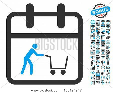 Shopping Day pictograph with bonus calendar and time management pictograph collection. Vector illustration style is flat iconic bicolor symbols, blue and gray colors, white background.