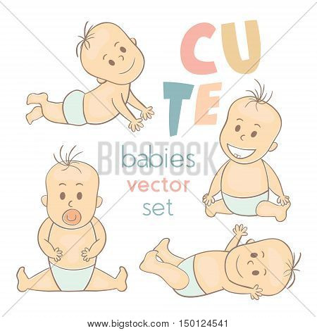 Cute little babies. Newborn baby icon. Smiling cartoon kids set. It can be used for baby shower cards packaging design baby products etc. Vector Illustration