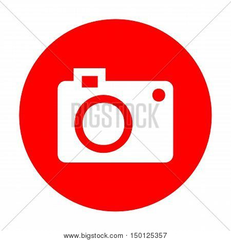 Digital Camera Sign. White Icon On Red Circle.