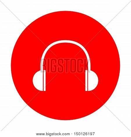 Headphones Sign Illustration. White Icon On Red Circle.