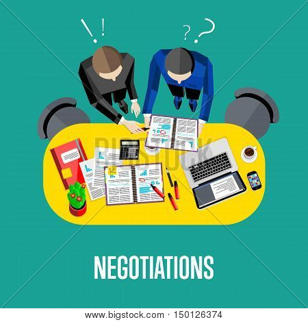 Negotiation banner.. Workspace background, vector illustration. Top view of businessmen working with financial documents at office desk. Business meeting. Collaboration and partnership.