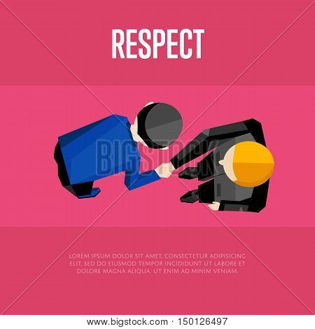 Respect banner, vector illustration. Top view of two businessmen shaking hands isolated on crimson background. People meeting concept. Businessman in full bow. Collaboration and partnership.