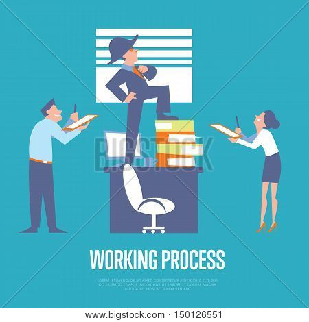 Big boss in business suit and napoleon hat standing on office table before subordinate workers. Working process banner, isolated vector illustration on blue background. Office life. Teamwork concept