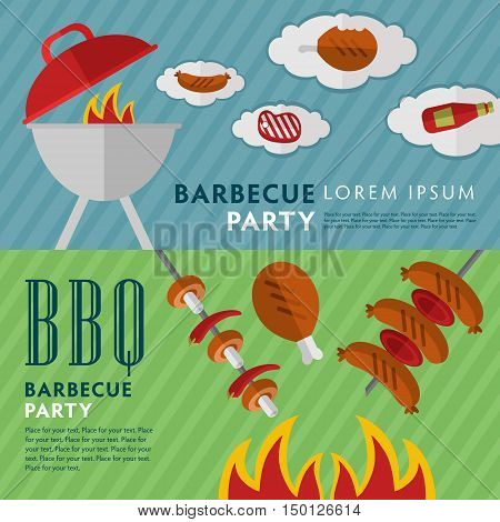 BBQ grill banners template. Barbecue banners with grill and food design elements. BBQ party flyers with space for text. Grill menu layout. Bbq grill concept and bbq grill vector icon. Bbq elements for ad or grill menu.