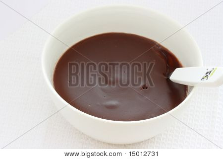 Chocolate Pudding / Custard / Jelly In White Bowl