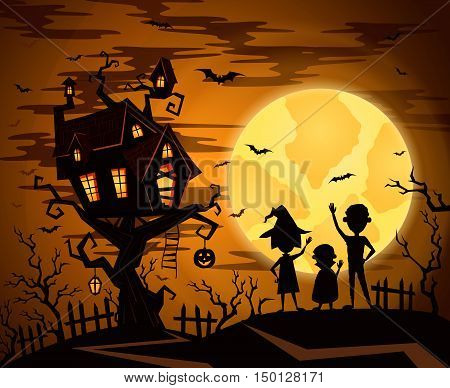 Halloween party castle in mystic spooky forest at night. Halloween castle on the tree on a background of the full moon. Night silhouettes of bats. Halloween concept. Cartoon halloween illustration. Halloween night design concept. Halloween castle.