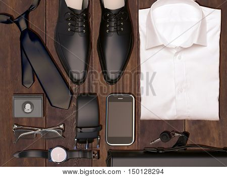 Men's business clothes and accessories on wooden background; mens accessories, 3D illustration