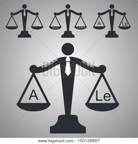 set of four libra in accounting theme vector