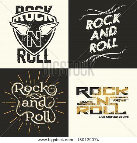 Set of four Rock music print rock-music tee print stamp design. t-shirt print lettering artwork vector
