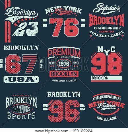 Typography Graphics emblem set T-shirt Printing Design. Print for apparel Brooklyn vector