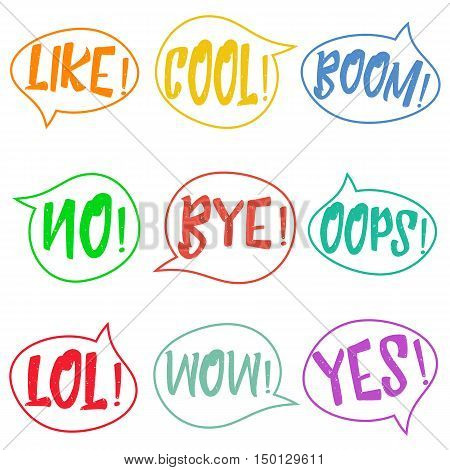 Set of nine different, colorful stickers at white background. speech bubbles with LOL, LIKE, BOOM, WOW, COOL, NO, BYE, OOPS, YES. Isolated, vector eps 10.