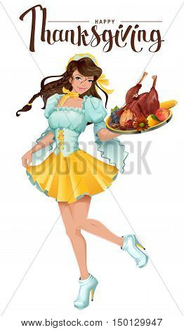 Happy Thanksgiving Day. Cute girl waiter brings a tray of roast turkey, vegetables and fruit. Isolated on white vector cartoon illustration