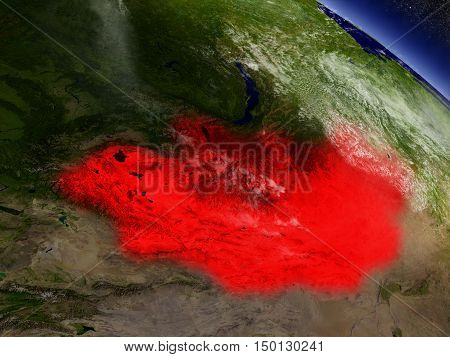 Mongolia From Space Highlighted In Red