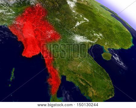 Myanmar From Space Highlighted In Red