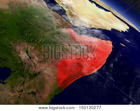 Somalia From Space Highlighted In Red