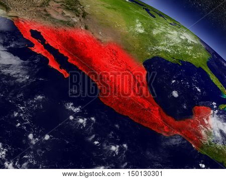 Mexico From Space Highlighted In Red