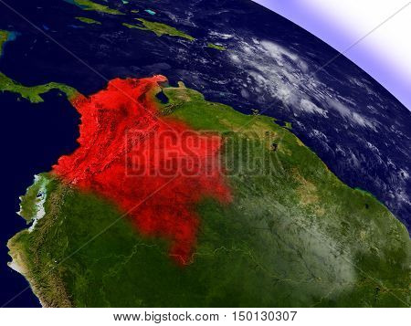Colombia From Space Highlighted In Red