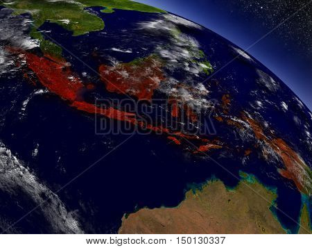 Indonesia From Space Highlighted In Red