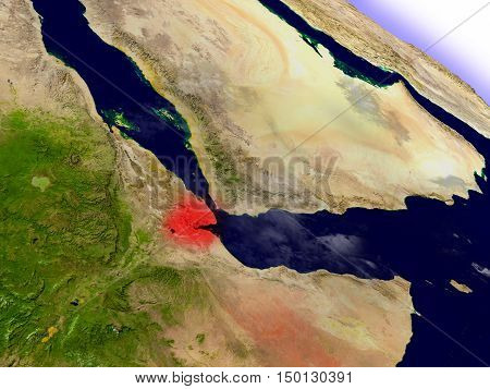Djibouti From Space Highlighted In Red