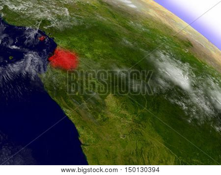 Equatorial Guinea From Space Highlighted In Red