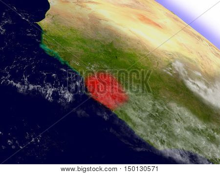 Sierra Leone From Space Highlighted In Red