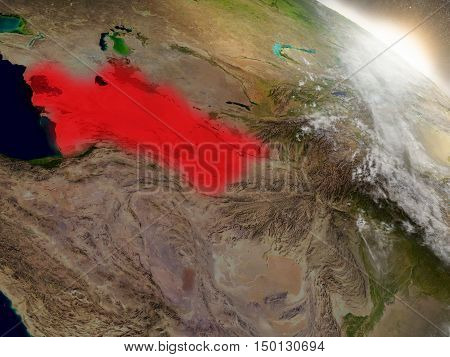 Turkmenistan From Space Highlighted In Red