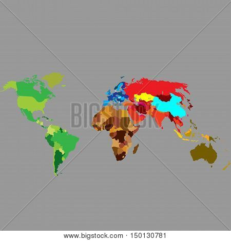 The political map of the world on a gray background. Vector illustration