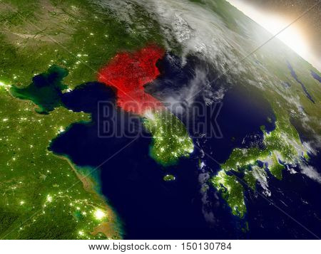 North Korea From Space Highlighted In Red