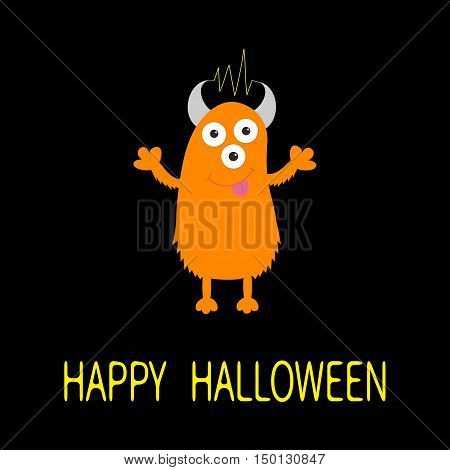 Happy Halloween card. Orange monster with eyes horns tongue electricity line. Funny Cute cartoon character. Baby collection. Flat design. Black background. Vector illustration