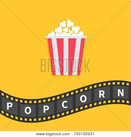 Popcorn. Big film strip wave ribbon line with text. Red white box. Cinema movie night icon in flat design style. Yellow background. Vector illustration