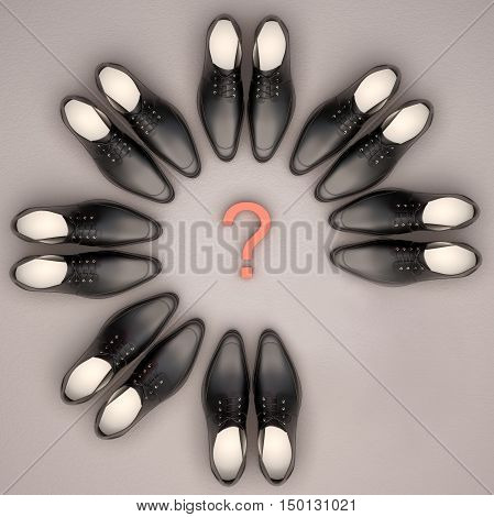 Men's shoes are located in the form of a circle. One couple is absent. Teamwork concept. 3D illustration