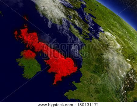 United Kingdom From Space Highlighted In Red