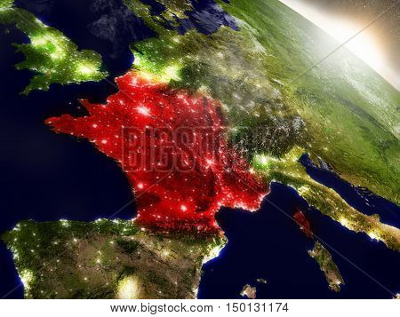 France From Space Highlighted In Red