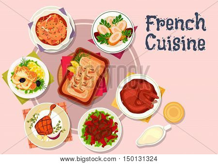 French cuisine meat and fish dishes icon with cod with bechamel sauce, chicken with wine sauce, baked duck legs, rabbit roast, chicken rolls with shrimp, liver with honey and wine sauce, batter perch