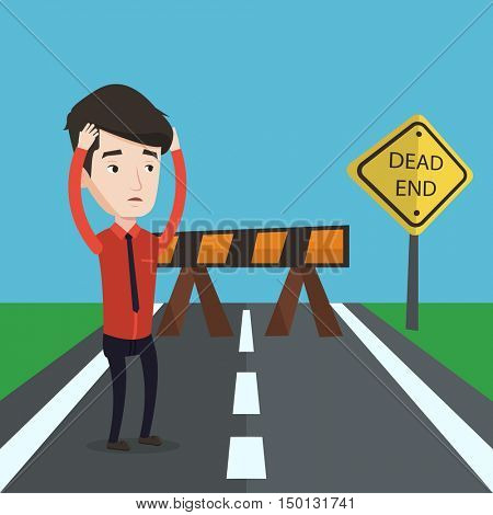Young businessman having trouble in business. Desperate businessman clutching his head while standing in front of road barrier and road sign dead end. Vector flat design illustration. Square layout.