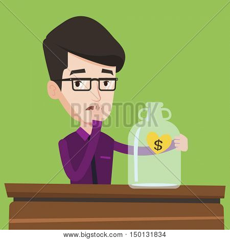 Worried businessman looking at empty glass jar. Young bankrupt businessman. Desperate man sitting at the table with empty money box. Bankruptcy concept. Vector flat design illustration. Square layout.