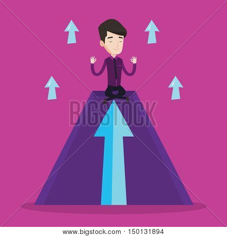 Peaceful businessman doing yoga and meditating in lotus pose on a mountain. Businessman thinking about the growth graph. Man sitting on arrow going up. Vector flat design illustration. Square layout.