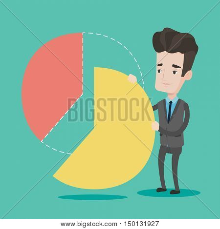 Businessman taking his part of financial pie chart. Young businessman in a suit getting his share of the profit. Businessman dividing in parts pie chart. Vector flat design illustration. Square layout