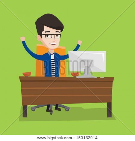 Happy businessman celebrating with arms up while sitting at workplace. Businessman celebrating with arms lifted in the air. Successful business concept. Vector flat design illustration. Square layout.